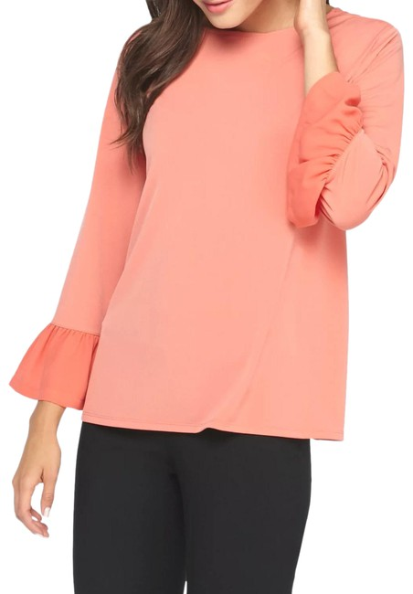 Item - Pink Corasl Boat Neck Bell Sleeve Blouse Size 16 (XL, Plus 0x)