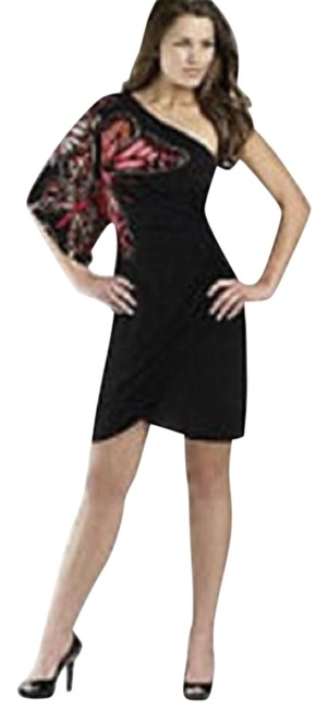 Item - Black Butterly One Shoulder Night Out Dress Size 6 (S)