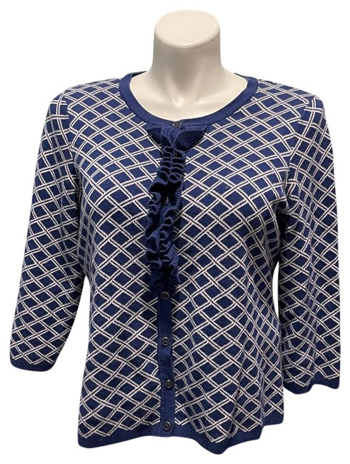 Item - Blue and White Isaacmizrahilive Cardigan Size 12 (L)
