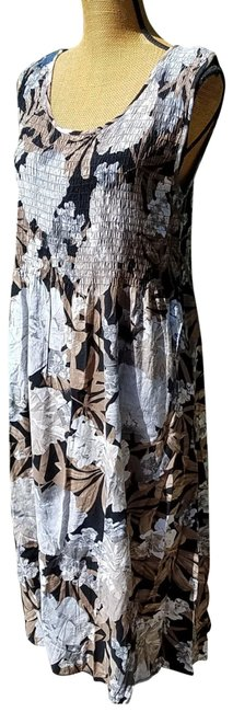 Item - Multi-browns Floral Summer Long Casual Maxi Dress Size 12 (L)