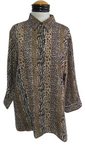 BonWorth Top Brown & Black Leopard Animal Print
