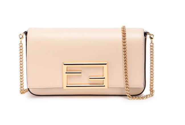 Item - Wallet on Chain Ff Logo with Pouches Nude Beige Leather Shoulder Bag