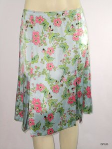 White + Warren Pink Silk Butterfly Floral Print Pleat Skirt Blue