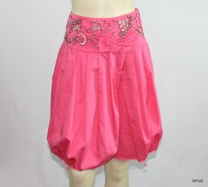 Free People People Pleated Sequin Beaded Frayed Mesh Hemline Skirt Pink