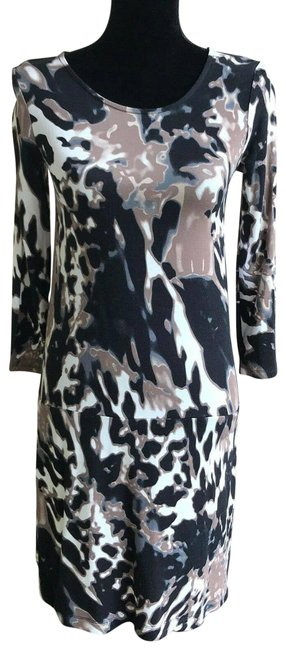 Item - Multicolor XS New Black Brown Off White Abstract Animal Print Short Casual Dress Size 0 (XS)