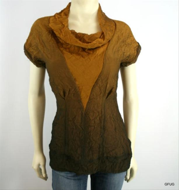 W118 by Walter Baker Copper Ombre Crinckled Cowl Neck Short Sleeve Top Brown