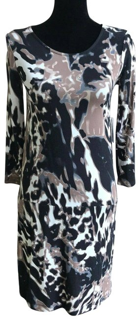 Item - Multicolor New Black Brown Off White Abstract Animal Print Short Casual Dress Size XS