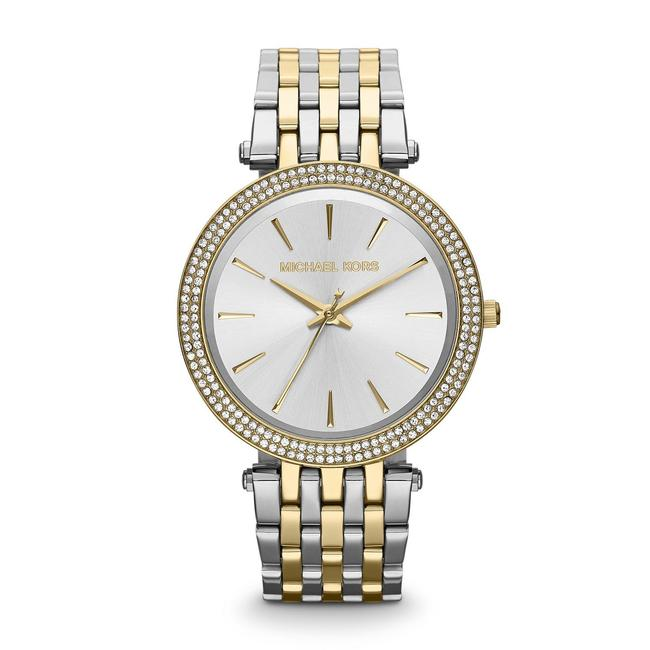 Item - Two Tone Darci Gold Silver Stainless Steel Pave Crystal Mk3215 Watch