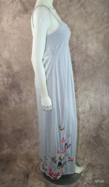 Gray Maxi Dress by Johnny Was La Butterfly Embroidered Accent Maxi Sun