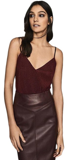 Item - Metallic Wrap Front Cami In Berry Red Top