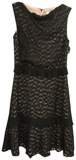 """Item - Black W Sheer Overlay W/ Nude Lining A-line """"Abigail"""" Mid-length Night Out Dress Size 2 (XS)"""
