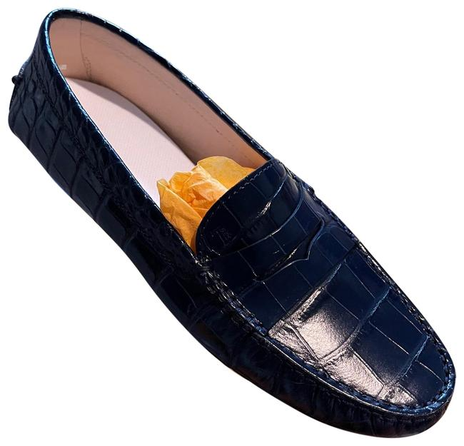 Item - Navy Croc Embossed Loafers/Drivers Flats Size US 8.5 Regular (M, B)