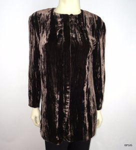 Anne Klein Anne Klein Brown Rayon Silk Crushed Velvet Evening Blazer Jacket