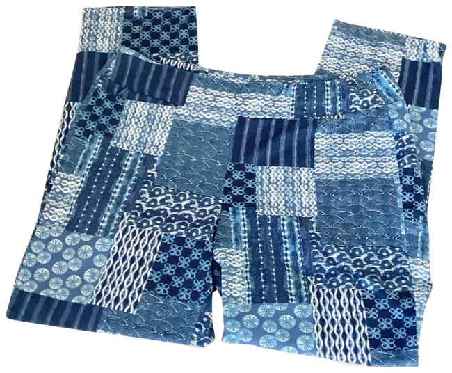Item - Blue L Patchwork Printed Paisley Pull On Pants Leggings Size 14 (L, 34)