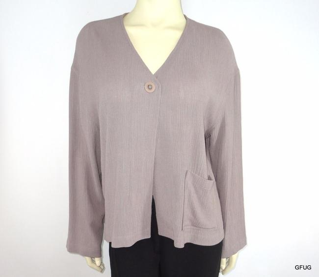 J. Jill Creped Wool Rayon Blend Lagenlook Front Gray Jacket