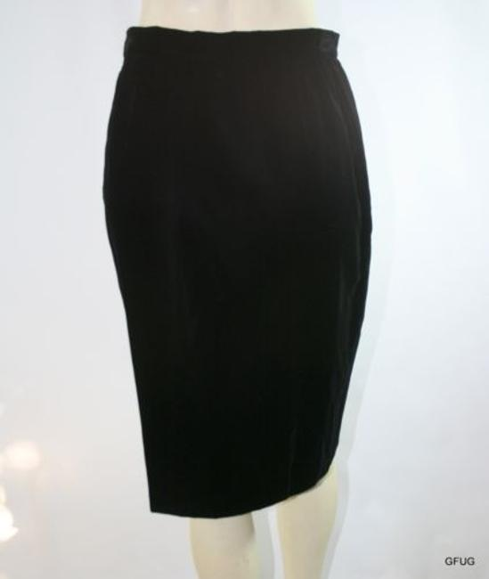 Valentino Boutique Italy Velvet Straight Pencil Evening Classic Skirt Black
