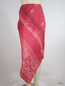 Banana Republic 0 Salmon Silk Indian Batik Floral Asymmetrical Scarf Skirt Pink