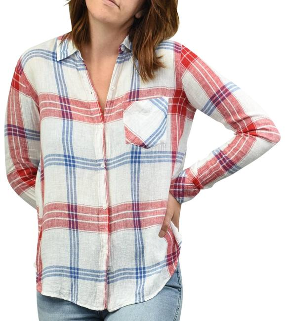 Item - White Charli In Carmine Blue and S Button-down Top Size 4 (S)