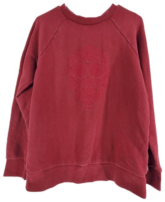 Item - Jersey Embroidered Sugar Skull Crew Neck Long Sleeve Red Sweater