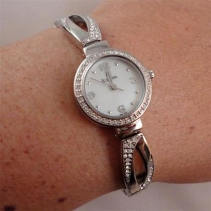 Bulova Bulova Womens Stainless Steel Swarovski Crystal Bracelet Watch 96l115