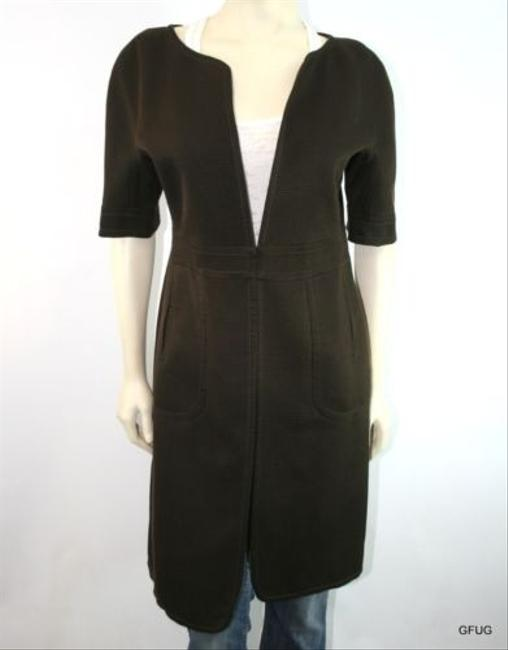 Max Studio Leon Max Limited Edition Brown Silk Wool Pique Long Blazer Jacket Back Slit