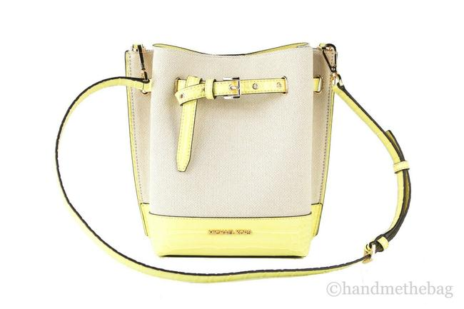 Item - Bucket Emilia Small Snake Print Yellow Leather Buttercup Canvas Messenger Bag