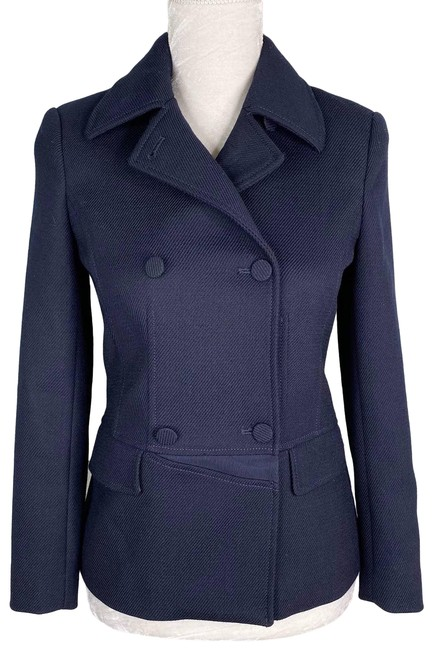 Item - Blue Navy Double Breasted Twill Wool Blend Stretch Blazer Size 4 (S)