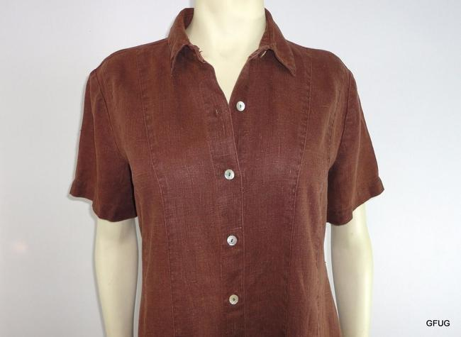 Other short dress Brown Match Linen Paneled Shirtmakers Sleeves on Tradesy