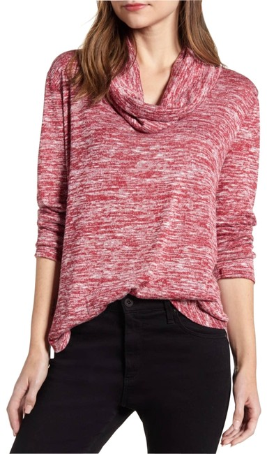 Item - Red Heathered Cowl Neck Long Sleeves Small Blouse Size 6 (S)