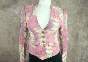 Free People Pink Yellow Fitted Multi-Color Jacket