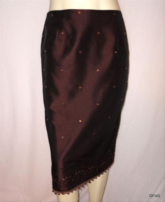 Ann Taylor Sequined Slit Evening Occasion Skirt Brown