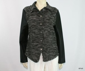 New Directions Tweed Faux Black White Jacket