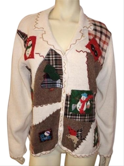 Preload https://img-static.tradesy.com/item/2984065/christmas-party-cardigan-snowman-patch-bead-plaid-multi-color-sweater-0-1-650-650.jpg