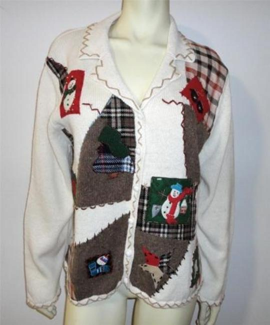 Other Star Blue Christmas Party Cardigan Snowman Patch Bead Plaid Sweater