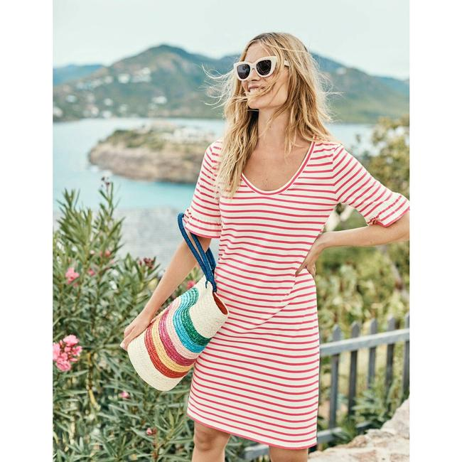 Item - Pink Striped Ruffle Sleeves Short Casual Dress Size 6 (S)