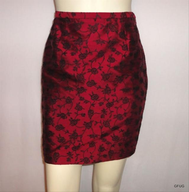 Ann Taylor Silk Black Floral Embroidered Occasion Holiday Skirt Red