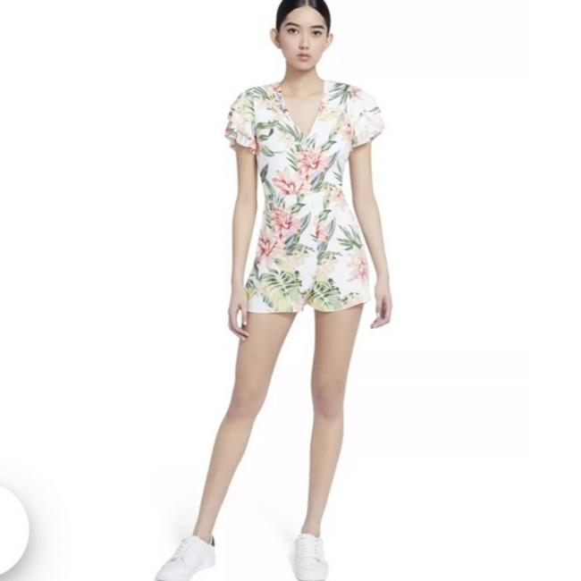 Item - White Multicolor Macall Floral Ruffle Romper/Jumpsuit