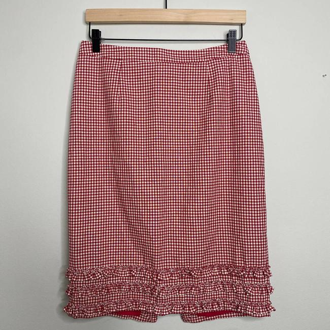 Item - Red Gingham Ruffle Pencil Skirt Size 8 (M, 29, 30)