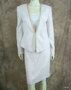 Tahari Tahari Pink Tweed Sasha Vintage Vibe Skirt Jacket Suit Chain Trim 320