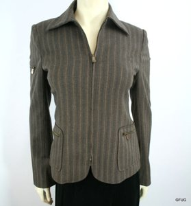 David Meister David Meister Brown Striped Wool Stretch Blazer Jacket Zip Front