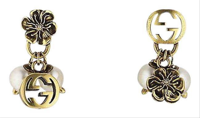 Item - Interlocking Gg Glass Pearl and Gold-toned Metal Earrings