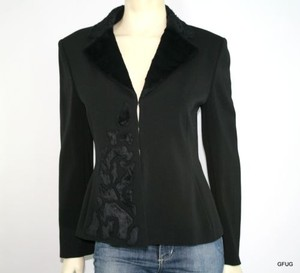 Clips Italy Black Blazer Jacket Coat Faux Fur Hook Front Closure