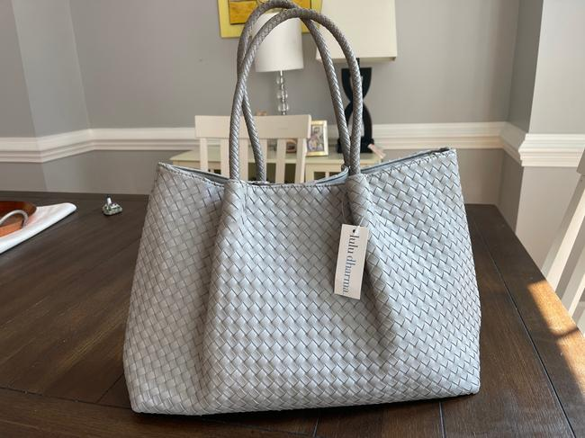 Item - Woven Vegan Gray Faux Leather Tote