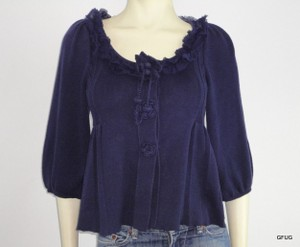 Anthropologie Knitted Knotted Blue Cotton Sweater