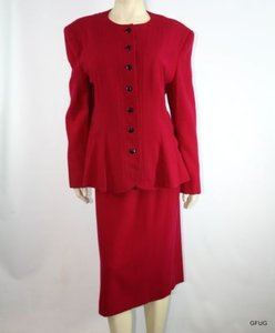 Lilli Ann Vintage 50s Lilli Ann Cranberry Red Wool Gabardine Blazer Skirt Suit Set