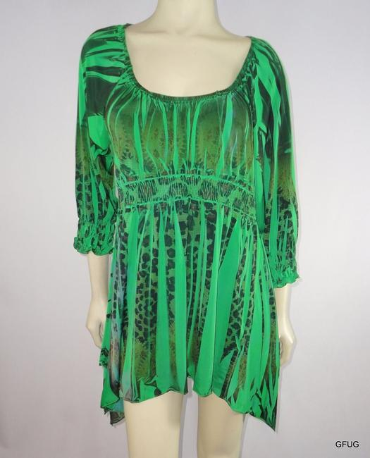 Other One World Live Let Live Leopard Print Tunic Dress Empire Waist Top Green