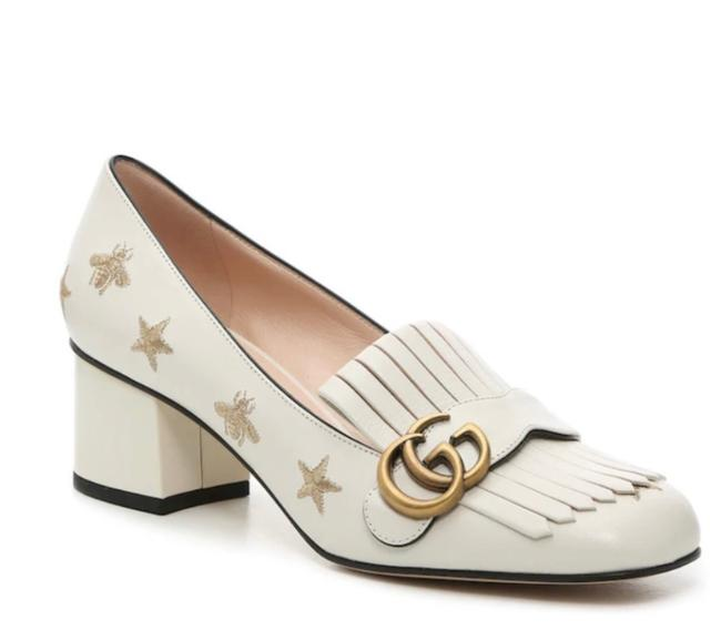 Item - White Marmont Embroidered Leather Pump Mules/Slides Size EU 34.5 (Approx. US 4.5) Regular (M, B)