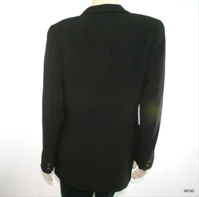 Yansi Fugel Citi Yansi Fugel Black Metallic Stripe Wool Blend Blazer Jacket Jewel Button