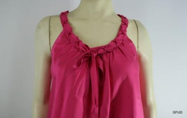 J.Crew Pure Silk Sleeveless Braided Neckline Bowtie Top Pink