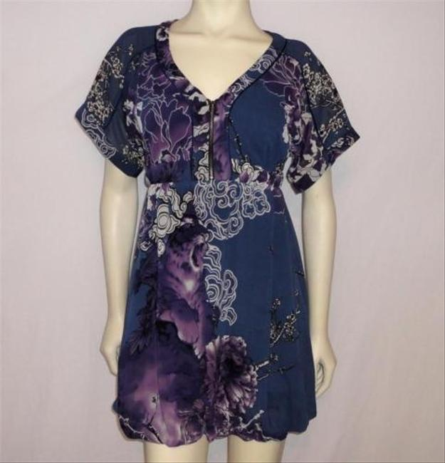 Guess Purple Floral Print Exposed Front Dress